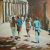 Walking through the Bari Gotic, Barcelona - £395 Framed