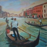 Venice gondolier on the grand canal