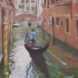 Canal with the yellow poles, Venice
